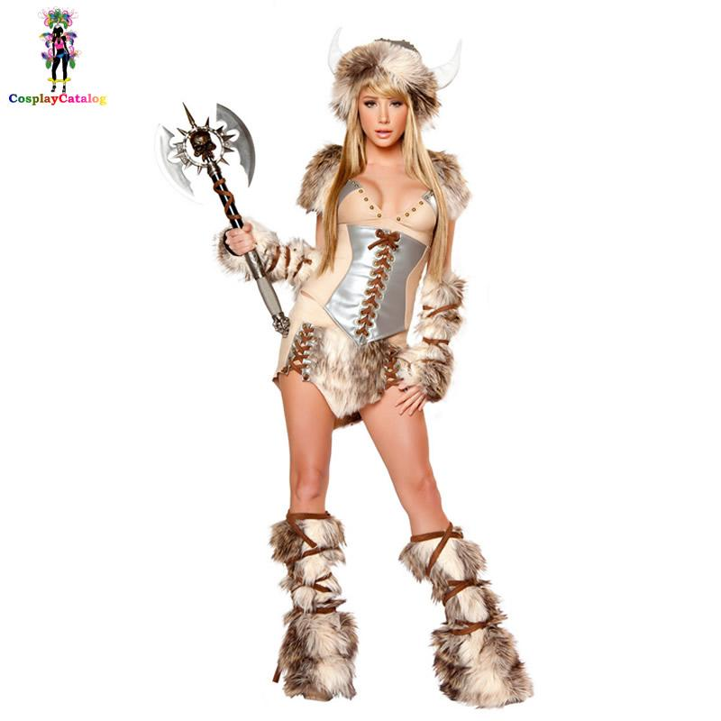 cea2304f9cd Adult Women The Viking Deluxe Halloween Cosplay Faux Fur Costume Female  Warrior Furry Costumes Fancy Animal Uniforms sexy