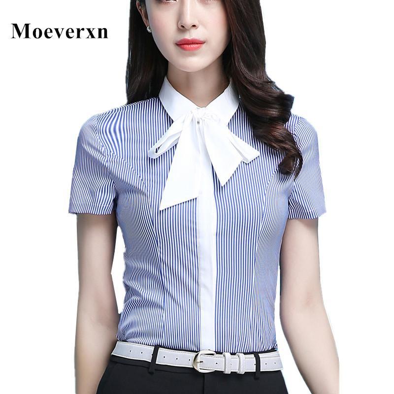 c98b7569 2019 Office Blue Striped Shirts Women Bow Tiw Formal Blouses Slim Short  Sleeve Elegant Ladies Blouse Womens Tops Chemise Femme Blusas From  Vanilla01, ...