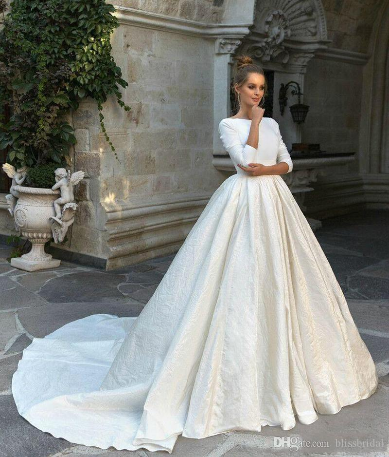 New Simple Satin Ball Gown Wedding Dresses 34 Long Sleeves Backless Ball Gown Court Train Custom Made Bridal Gowns Bridal Gowns