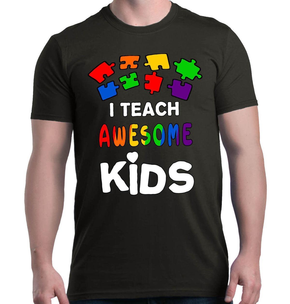 23bf5423c I Teach Awesome Kids T Shirt Autism Awareness Month Shirts Mans Unique  Cotton Short Sleeves O Neck T Shirt Funny Buy Online T Shirts Make Tee  Shirts From ...