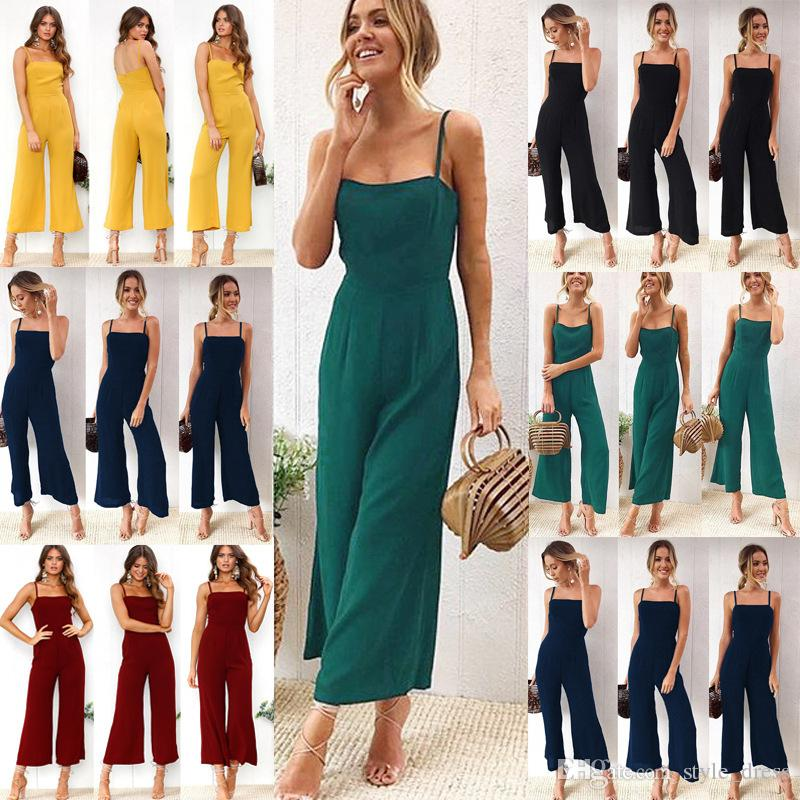 bb10d607d8 2019 Women Wide Leg Loose Long Pants Spaghetti Strap Casual Zipper Cargo  Jumpsuit Romper Playsuit From Style dress