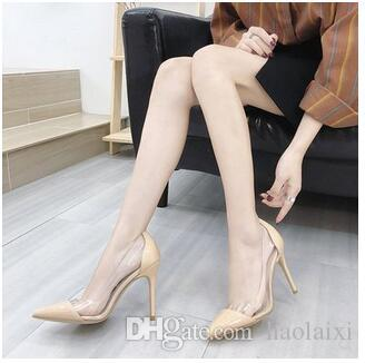 European and American fashion transparent high heeled shoes women fall 2018 new models with white nude stitching ladies' single shoes