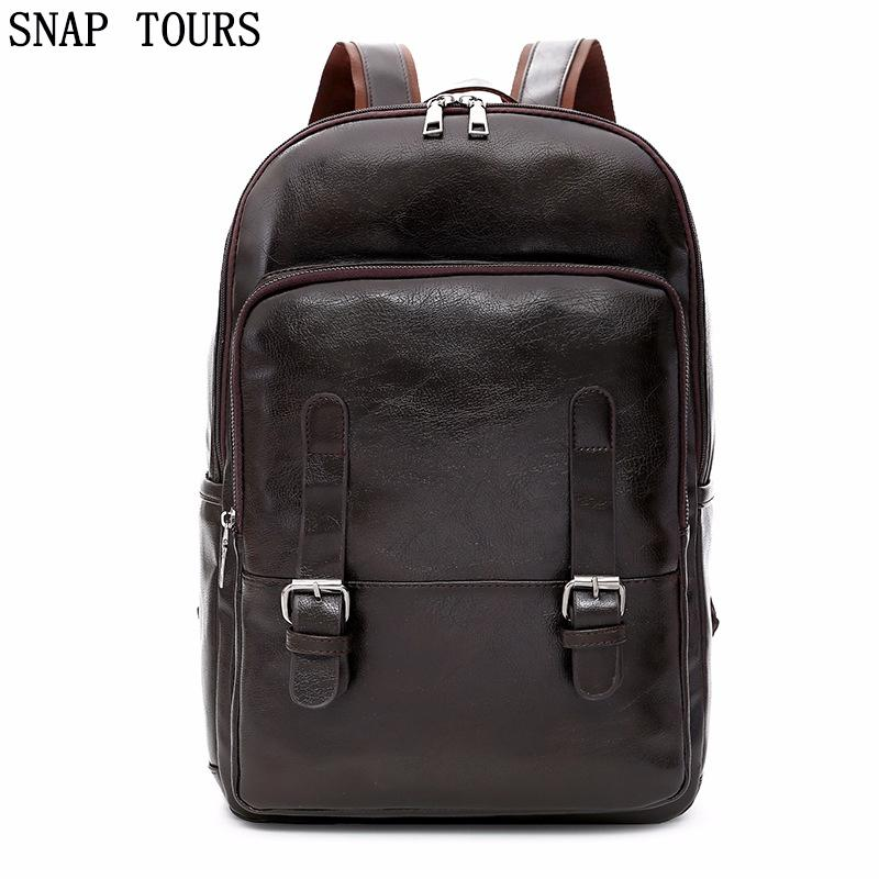 f4743ec23f58 SNAP TOURS 2018 Laptop Men Leather Backpack For A Boy Luxury Fashion Male  School Backpacks For Teenagers Bookbag Trip Back Pack Swiss Backpack Laptop  ...