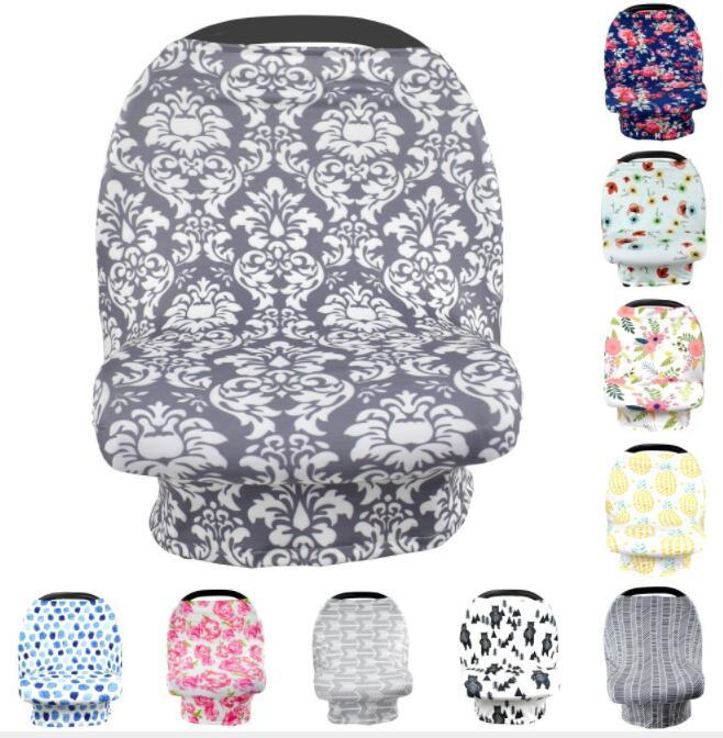 Baby Car Seat cover 12 design Multi-Use Stretchy Scarf Breastfeeding Shopping Cart Nursing Cover Strollers Blanket KKA5642