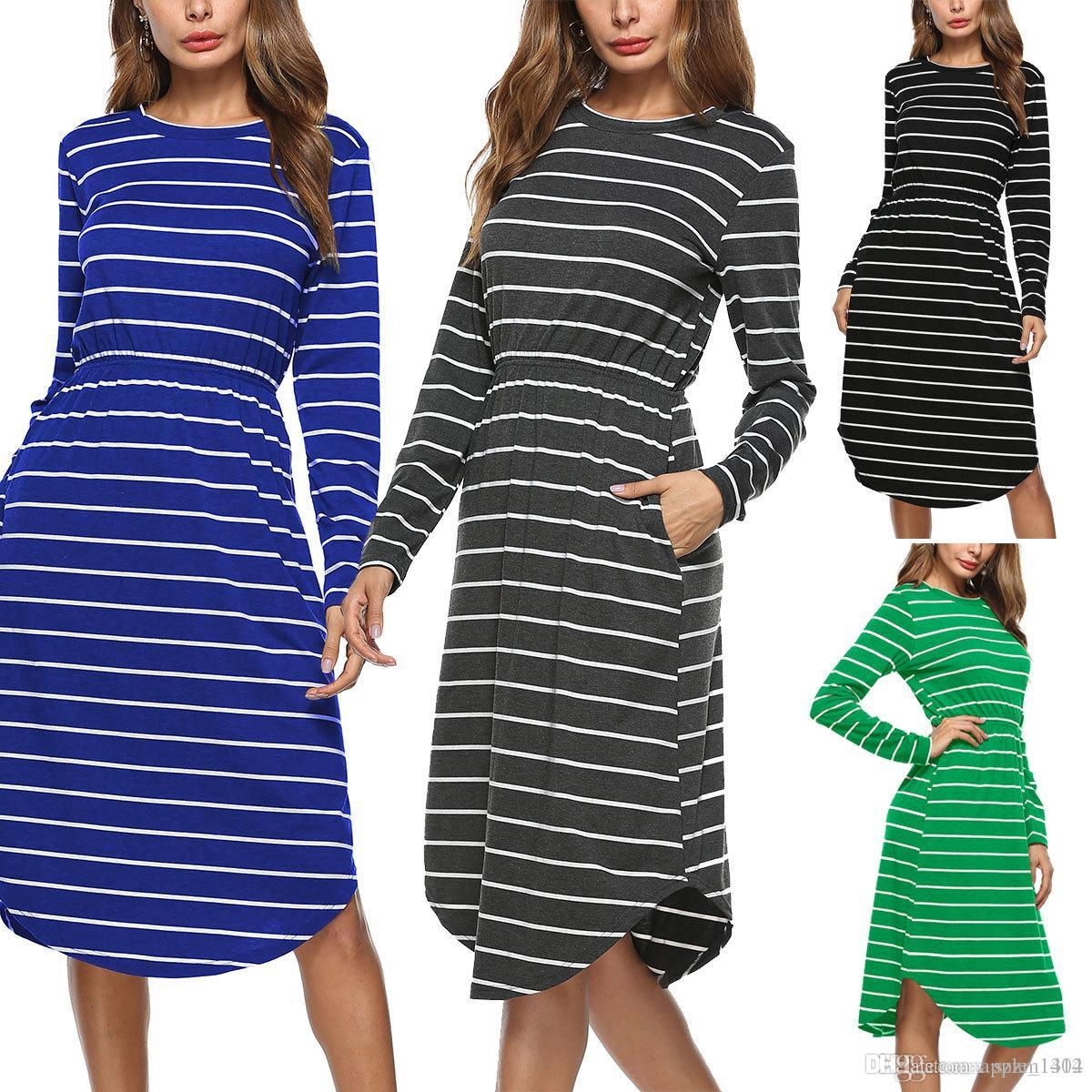 dacad20b20c Fashion Women Long Sleeve Striped Dress Girls Midi Empire Causal Dresses  Loose Cotton Long Skirts Plus Size for Vintage Women s Clothin