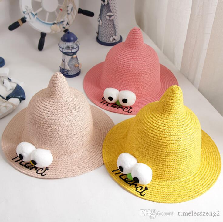 3cdfd5aaa24 Fashion Children Straw Hats With Cartoon Eyes Creative Top Baby Hats Girls Bucket  Hat Boys Cap Witch Beach Hat Panama Caps Free Ship UK 2019 From ...