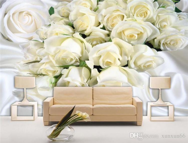 3D 방 침실 배경 벽 벽화 벽지 사용자 정의 대형 야외 3D 벽지 흰색 실크 장미 사진 벽지
