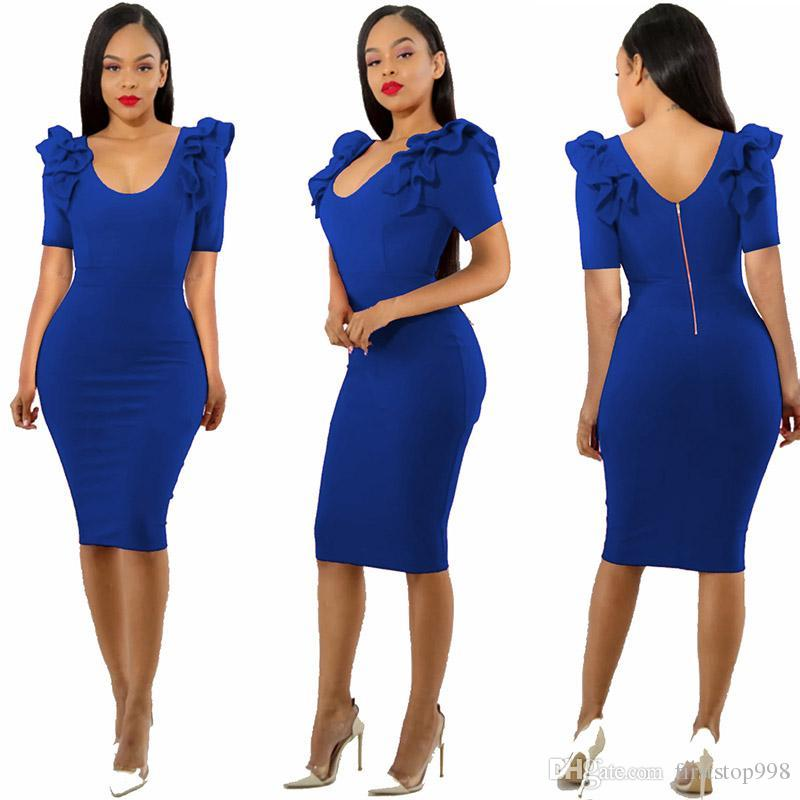 Fashion women sexy dress U-collar Lace zipper tight skirt Casual party dress ladies clothing red black blue