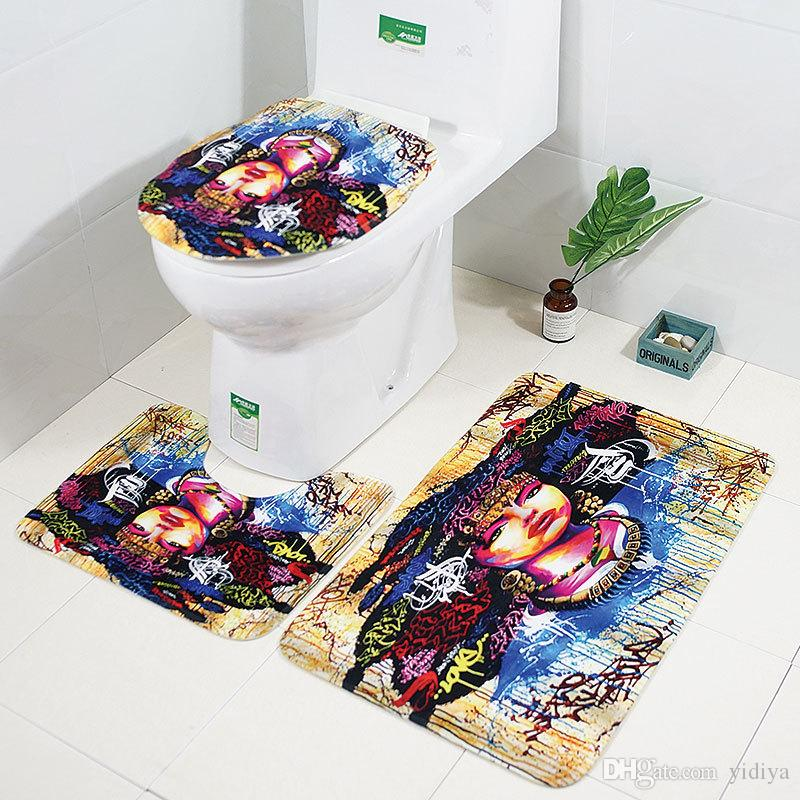 African Woman Series Anti Slip Bath Mat Set Bathroom Carpets Set