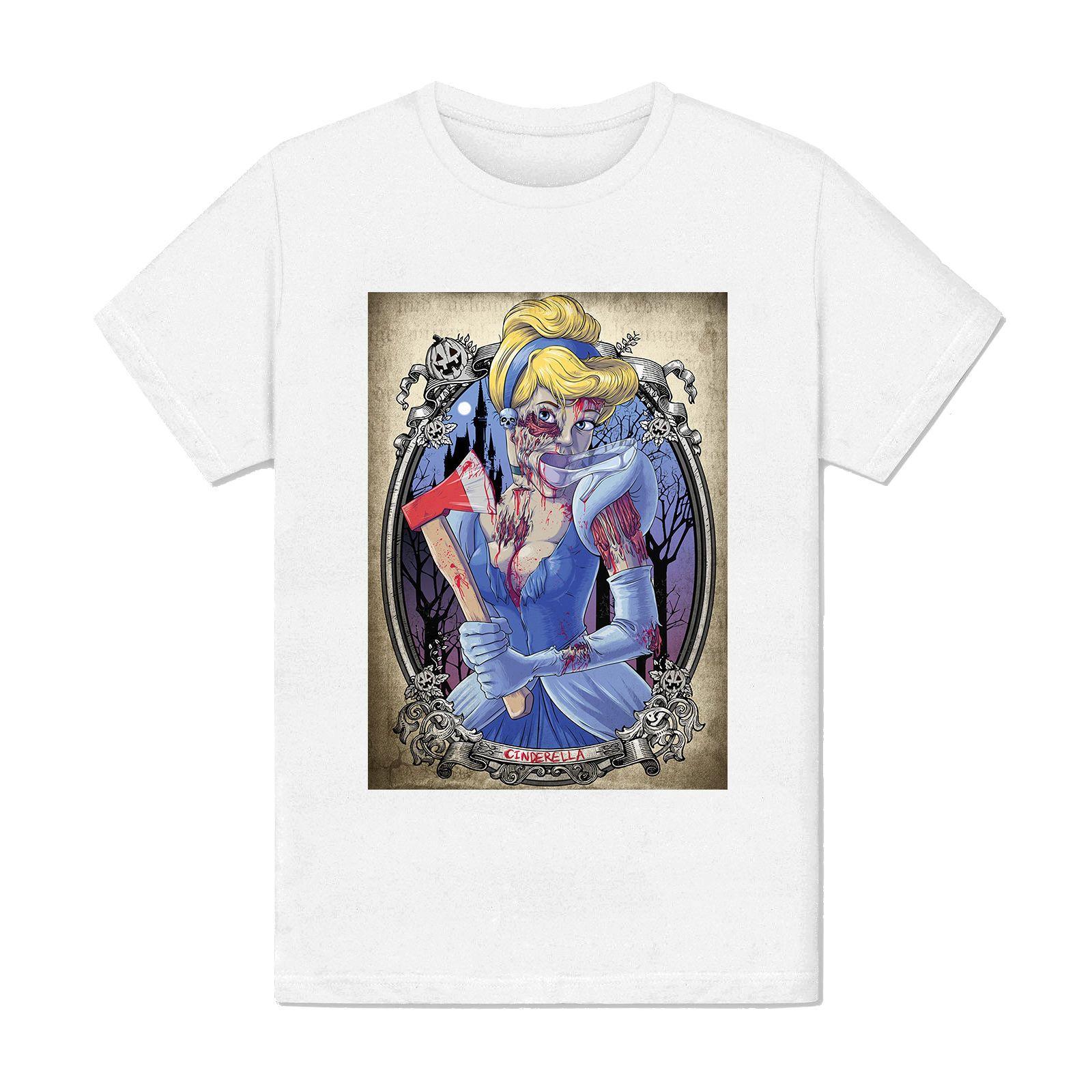 T Shirt Homme Zombie Cendrillon Parodie Tatouage Princesse Top Tee
