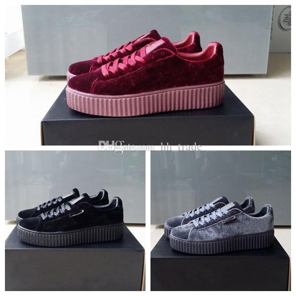 new style 6fe22 5ebfd 2018 Velvet Rihanna x Suede Creepers Men Women Rihanna Riri Fenty Platform  Pack Burgundy Black Grey Red Fashion Cheap Casual Shoes Sneakers