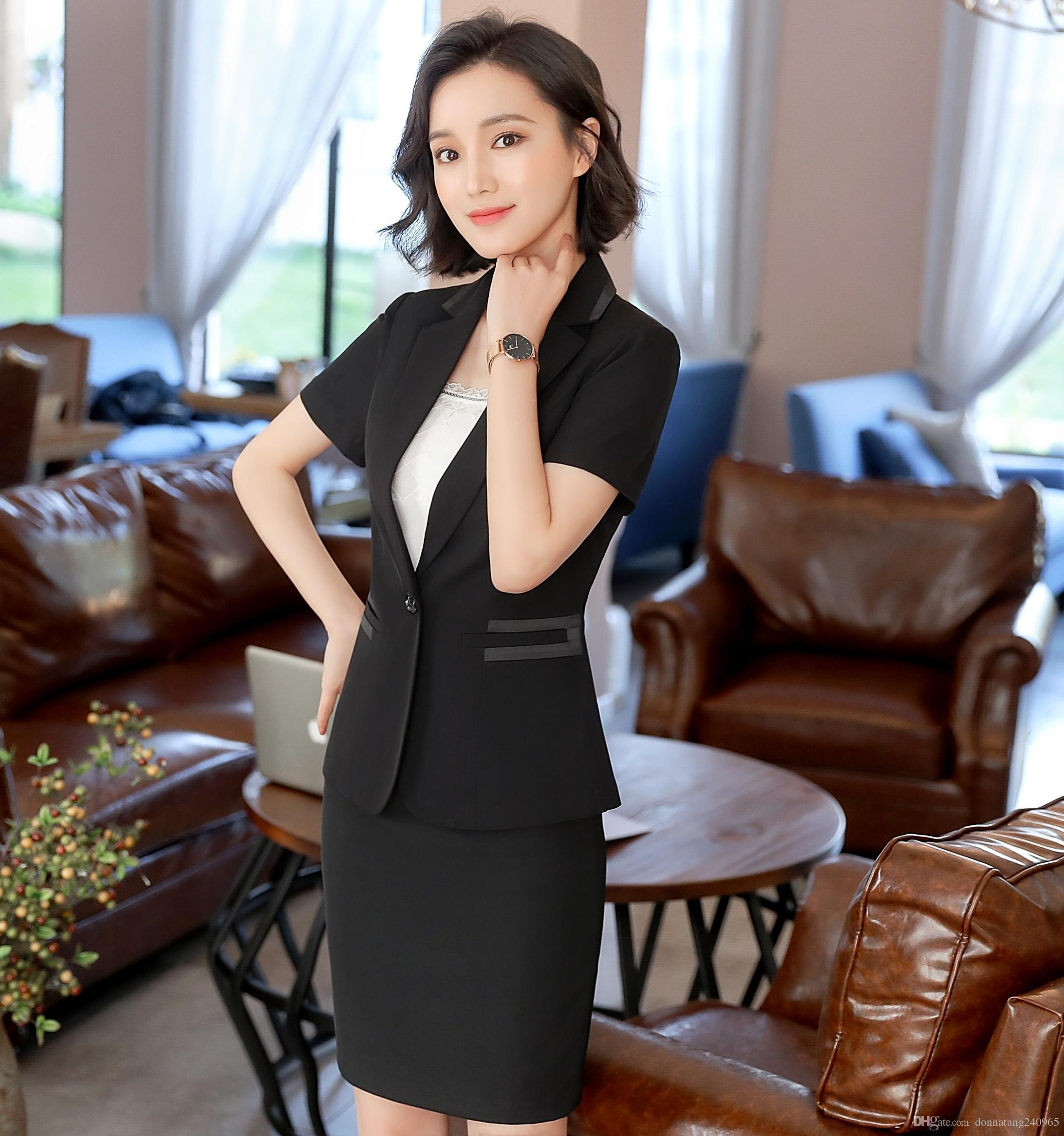 bc7b9a9cf43 2019 Pant Suits Summer Wear Short Sleeve Formal Uniform Style Office Skirt Suit  Women Work Blazer Jacket With Trousers Or Skirt From Donnatang240965
