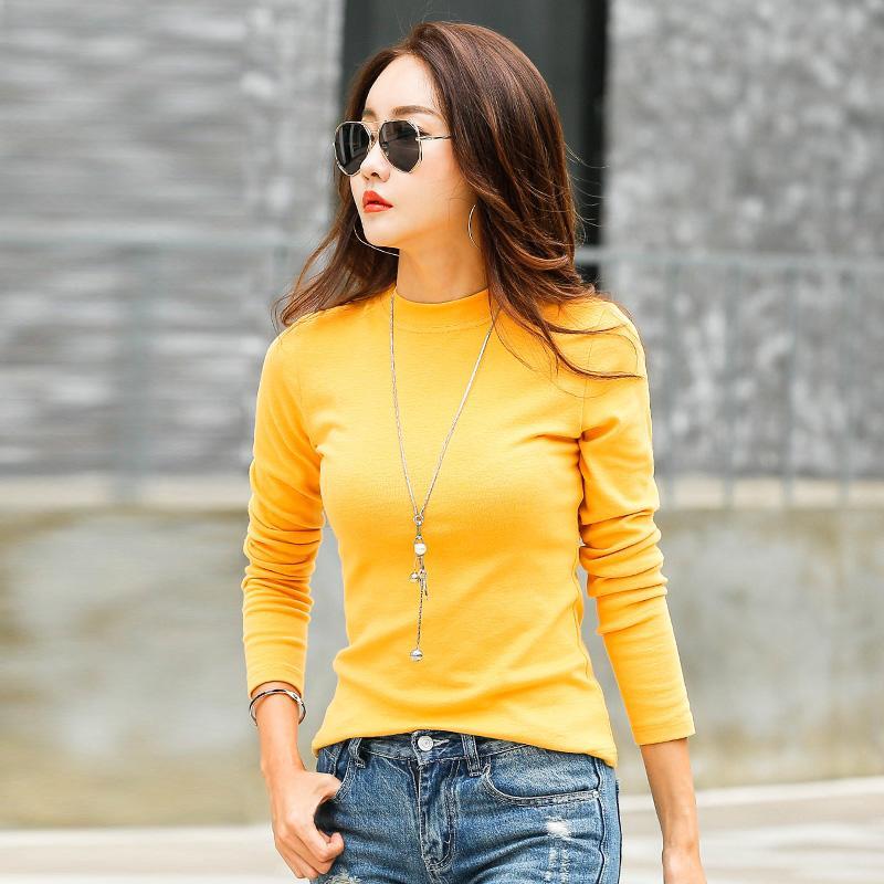 e4c7f9c6d9 Compre Nuevas Camisetas Para Mujer Camiseta De Algodón De Manga Larga Para  Mujer Camiseta De Manga Corta De Invierno Poleras Para Mujer Camiseta De  Cuello ...