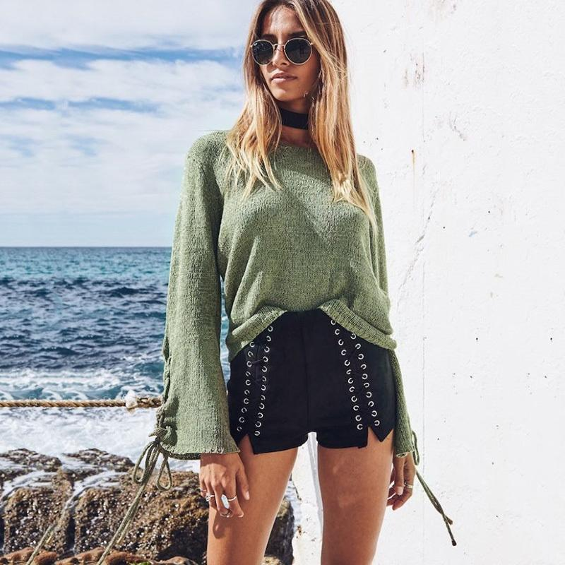 New Women Sweaters Series Knitted Lace Up Flare Sleeve Ladies Basic  Harajuku Casual Top Tees 2019 Autumn Online with  31.67 Piece on  Illusory09 s Store ... 24d3a4766abc