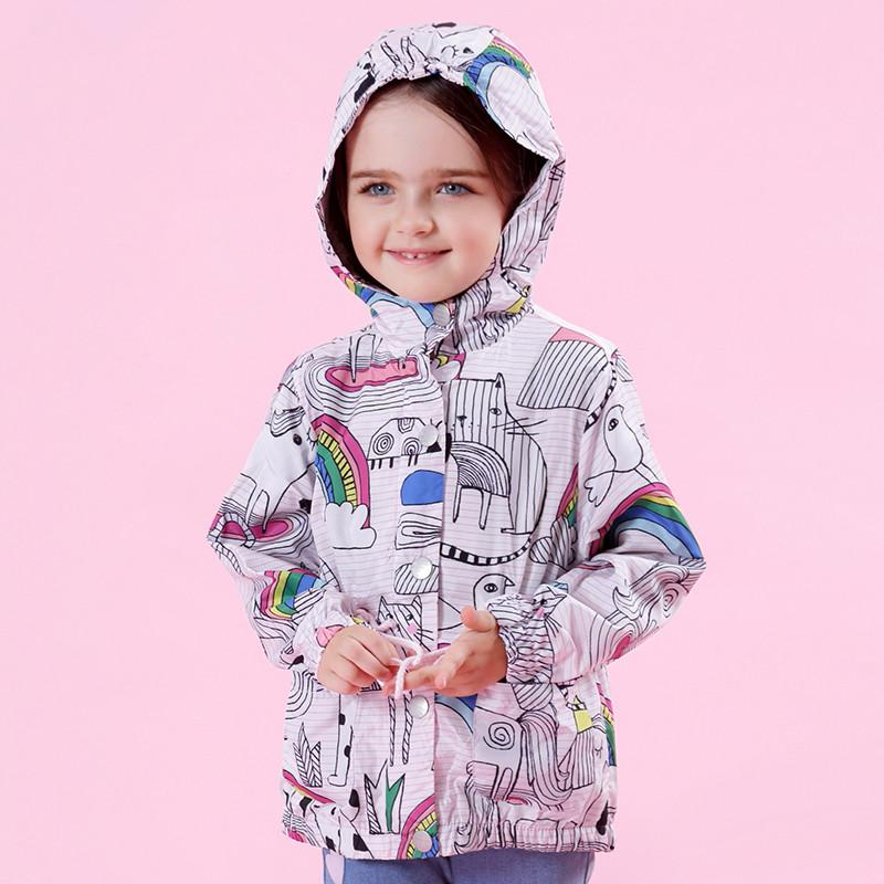 Cute Kids Coats and Jackets Children Brand For Girls Clothes Cartoon Print Hooded Overcoat For 3-7Y Wholesale & Dropshipping