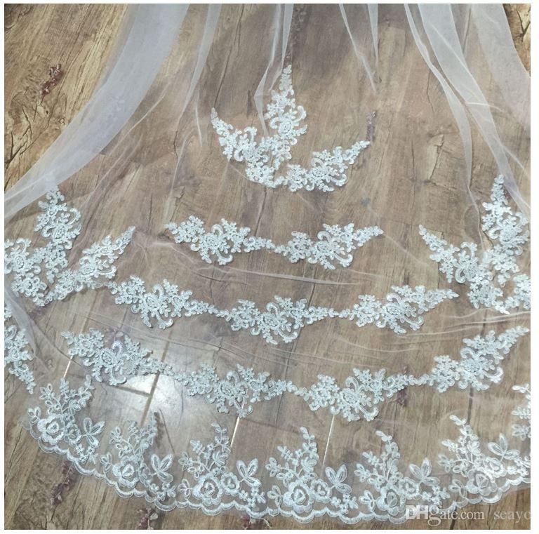 The bride 3 meters bride veil, tail light head yarn, manual single belt comb soft net veil, the color is white and ivory,