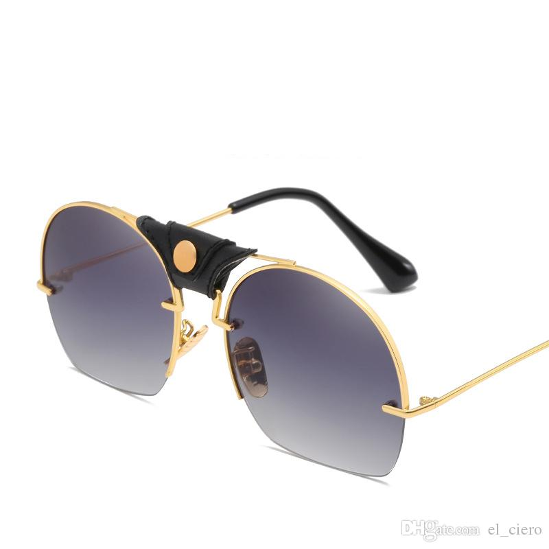 e98d149e7024 2019 New Brand Men S Designer Half Frame Luxury For Women Sunglasses Vintage  Steampunk Men Sun Glasses Uv400 Round Shades Polarized Sunglasses Sunglasses  ...