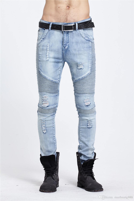 4e0f0621e1797 2019 2018 Mens Skinny Jean Distressed Slim Elastic Jeans Denim Biker Jeans  Hip Hop Pants Washed Ripped Jeans Plus Size 28 42