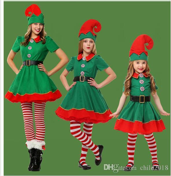 2d992ff42e56 Acquista Costume Di Natale Popodion Costume Da Elfo Di Natale Bambini  Costume Da Genitore Figlio Festival Costumi Di Natale Verdi COP40001 A  $70.35 Dal ...