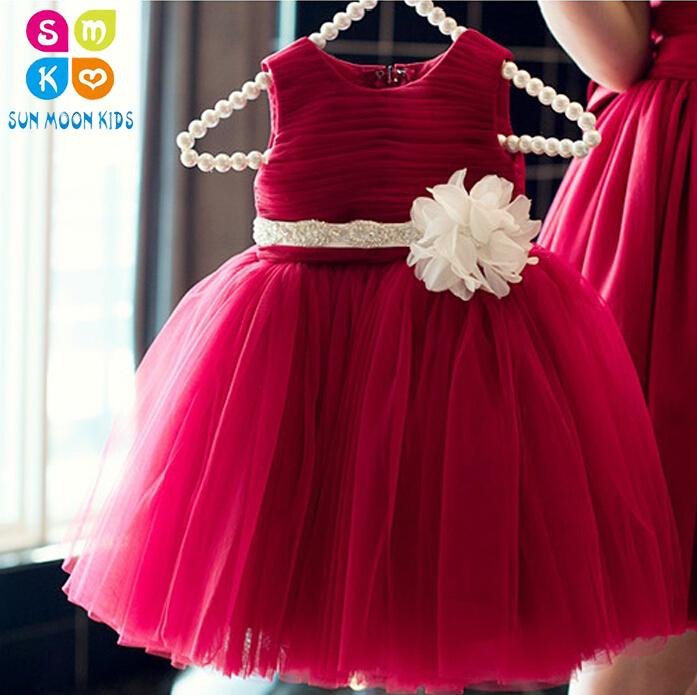4811627e3e Simple Red Tutu Sundress Ivory Flower For 60-140cm Baby Girls Wedding Party  ,1 Years Old Baby First Birthday Vestidos
