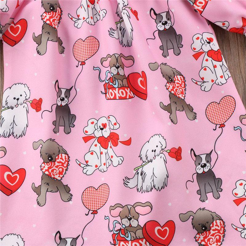 2018 neue Sommer Cartoon Hund Liebe Herz Mädchen Tops Valentinstag Kind T-shirt INS Kleinkind Tops Nette Mode Mädchen T-shirt