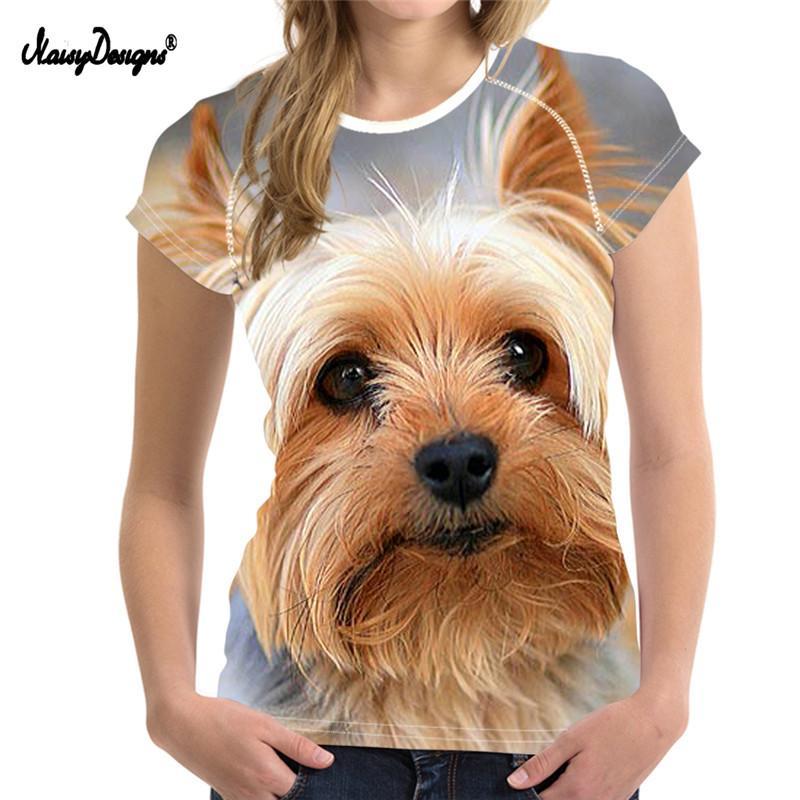 NoisyDesigns Funny Yorkshire Terrier 3D Dog Printed Casual T Shirt Summer  Women Short Sleeve Tops Tee Shirts Girls Female Tshirt