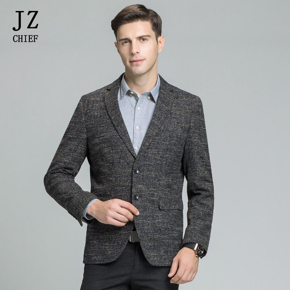 0466a64ab1 JZ CHIEF Giacca a righe blu Uomo Giacca in tweed Giacca monopetto in cotone  a due bottoni Abito da sposa Groom Slim Fit