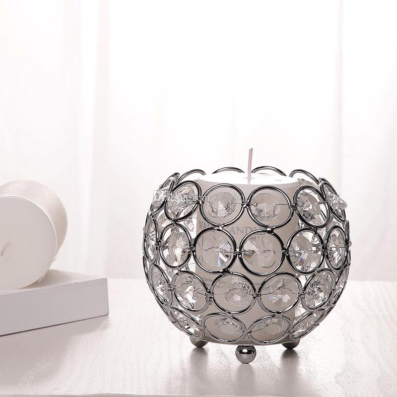 Gold Crystal Ball Votive Candle Holders Mosaic Crack Candlestick Home Decor Dinner Wedding Party Gifts Bar Decoration No Candle WX9-321