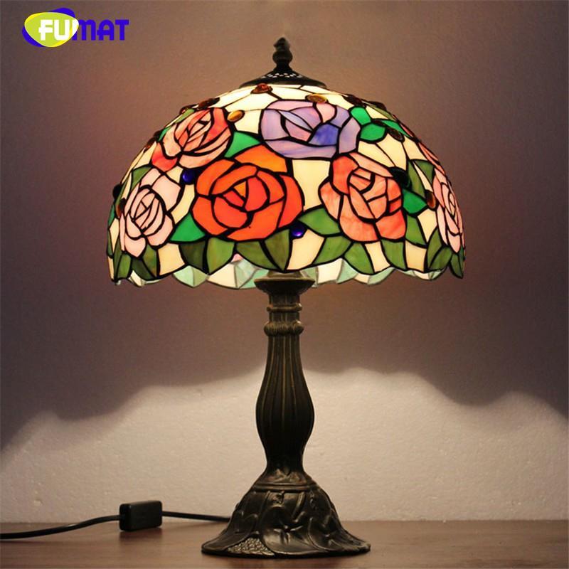 Acheter Fumat Vitrail Lampes De Table Moderne Led Verre Art Lampe