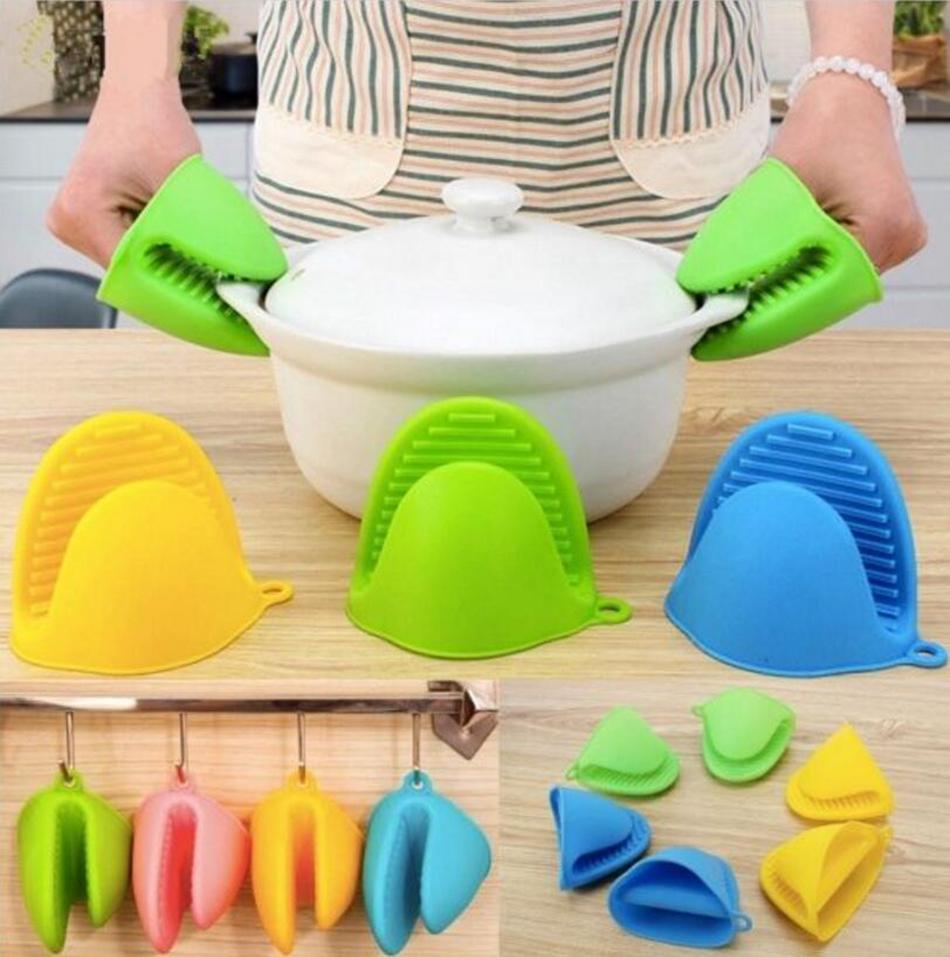 Kitchen Silicone Heat Resistant Gloves Clips Insulation Non Stick Anti-slip Pot Holder Clip Cooking Baking Oven Mitts Kitchen Tools OOA4999