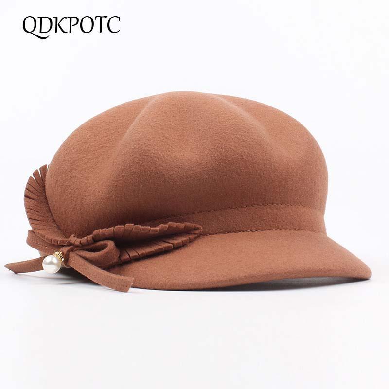 Grosshandel Qdkpotc Wollfilz Reiter Ritter Hut Frauen Kappe Mode