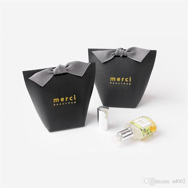 Confezione regalo squisita francese grazie merci carta pacchetto borsa doratura pieghevole caramella scatole matrimonio favore 0 42hb yy