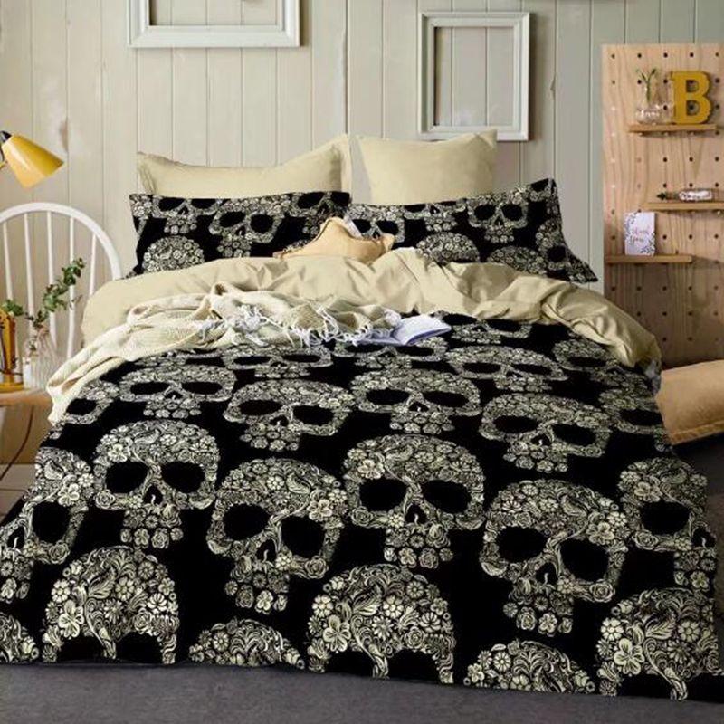 skull king size comforter sets Skull Bedding Set Queen King Double Size Duvet Cover Quilt Cover  skull king size comforter sets
