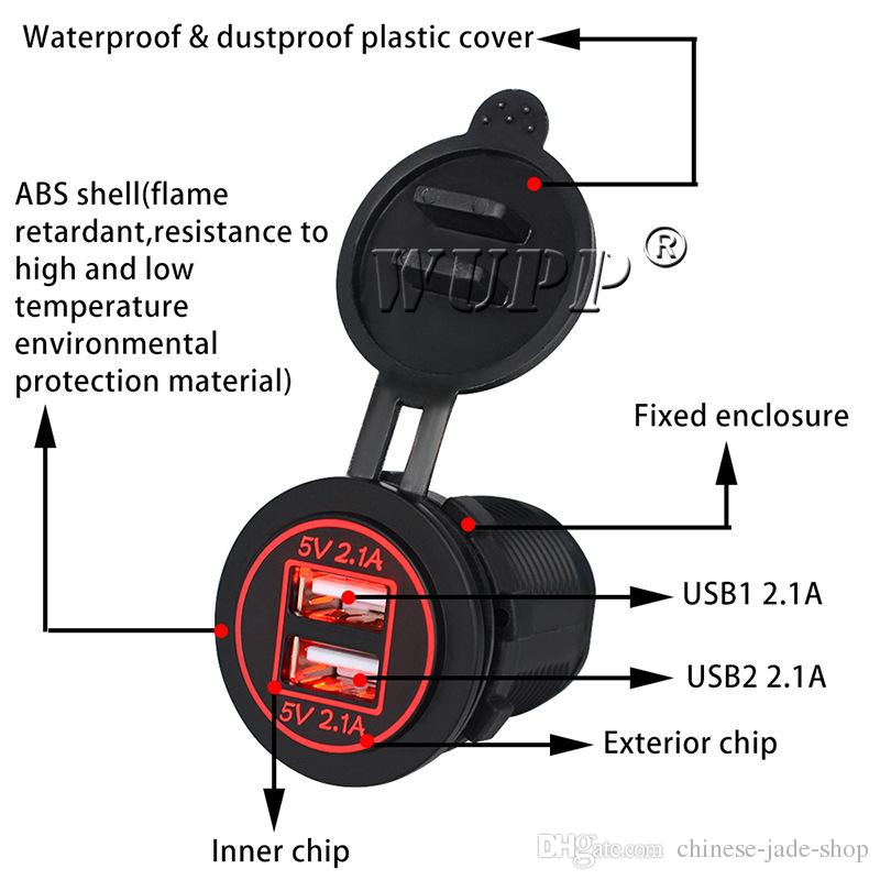 IP66 Motorcycle car Modified Accessories 4.2A Dual USB charger Waterproof and dustproof Cover