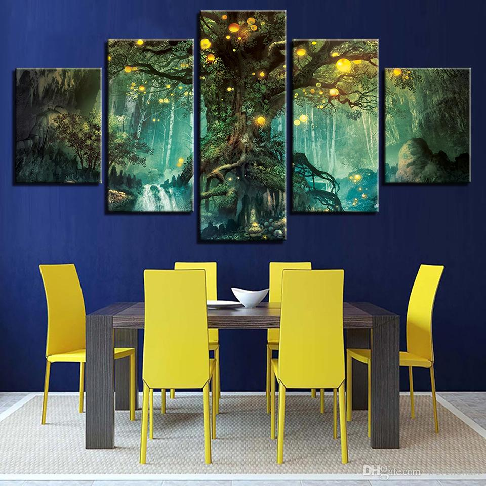 Canvas Pictures Living Room Wall Art Prints Enchanted Tree Scenery Paintings Magic Forest Posters Home Decor Framework