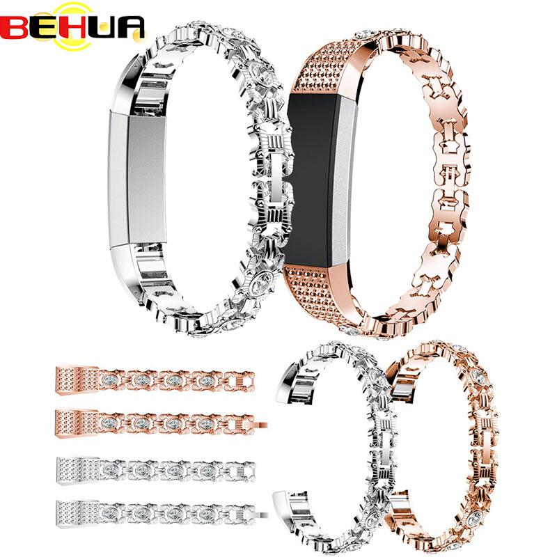 High Quality Watch Strap band with Rhinestone Stainless Steel Watchband Bracelet Band Strap For Fitbit Alta HR Correas de reloj