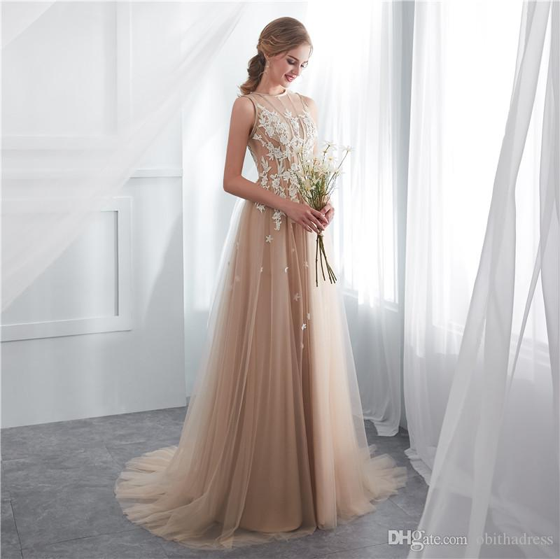 Sweet Prom Dress Round Neck Flat Shoulder Lace Row Flower Thin Mesh ...