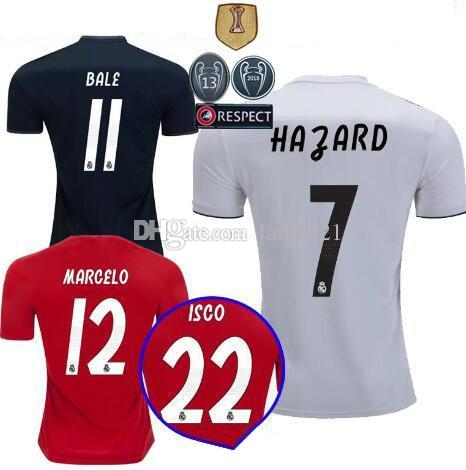369a6045883 2019 2018/19 Real Madrid Soccer Jersey Football Shirt Modric Kroos Bale  Marcelo 18/19 Champions League Patches Real Madrid Home Away Third Shirts  From ...