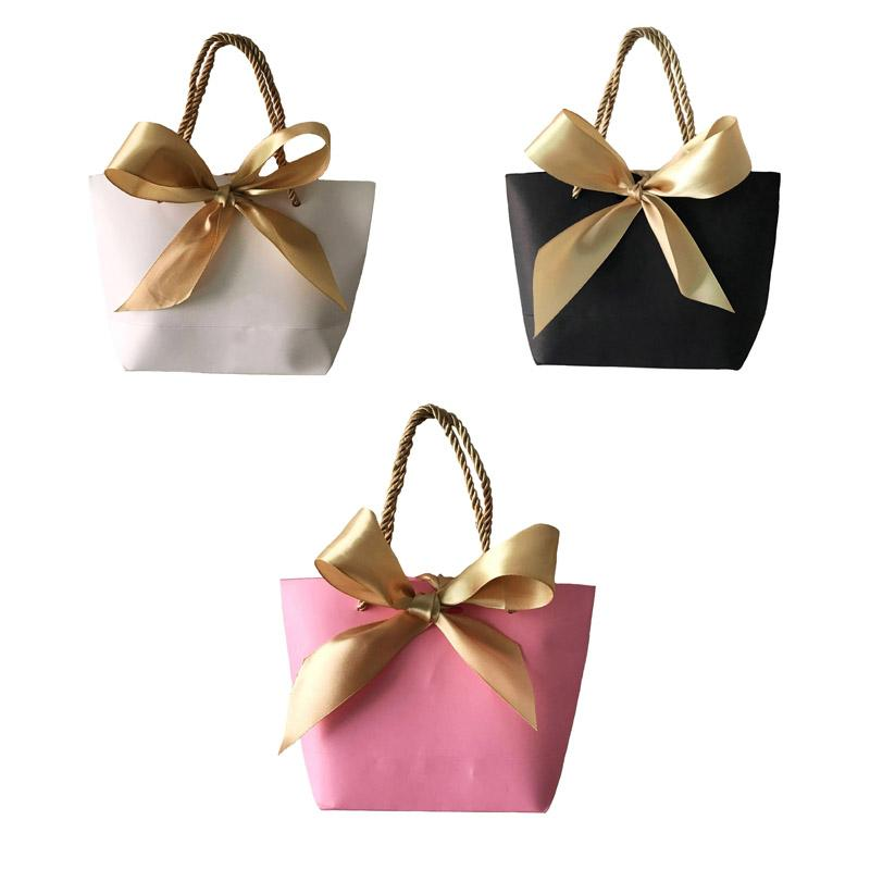 Portable Kraft Paper Bag Wedding Party Favors Candy Handle Bags With
