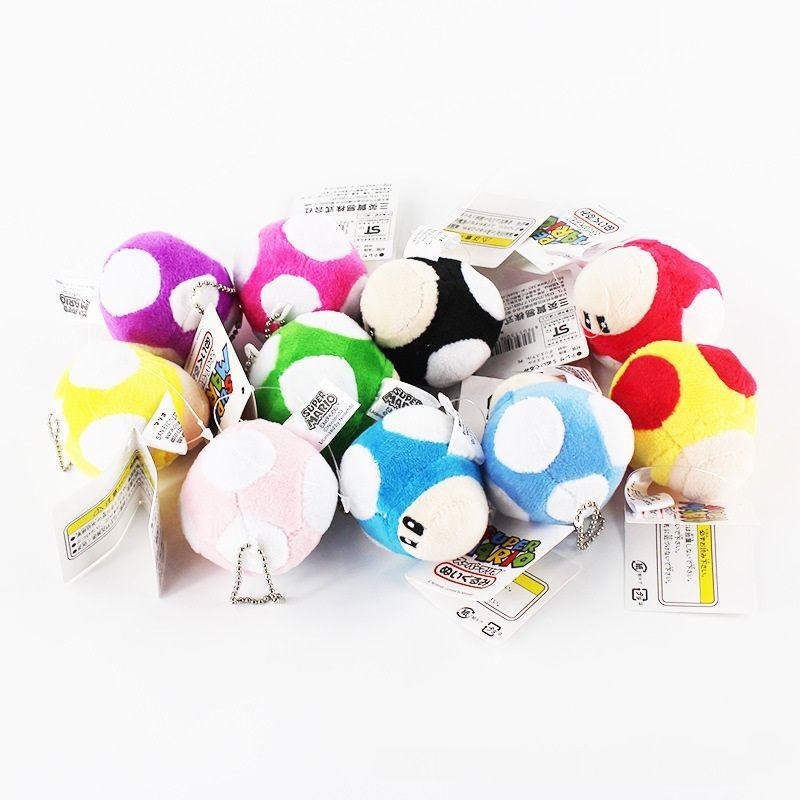7 cm Super Mario Bros Mushroom Plush Doll Figure Toy kids gifts bag accessories
