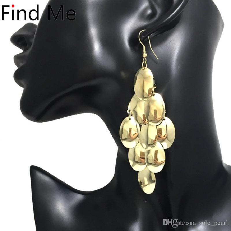 Alloy Wafer Dangle Earrings 2018 Fashion Simple Luxury Boho ... 063368a16282