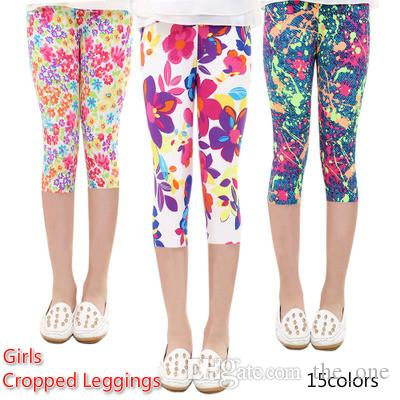 cb2910c047b184 2019 3/4 Length Girls Leggings Floral Print Silky Sport Yoga Pants Summer  Girls Pants Children Skinny Pants Kids Clothing Baby Girl Clothes From  The_one, ...