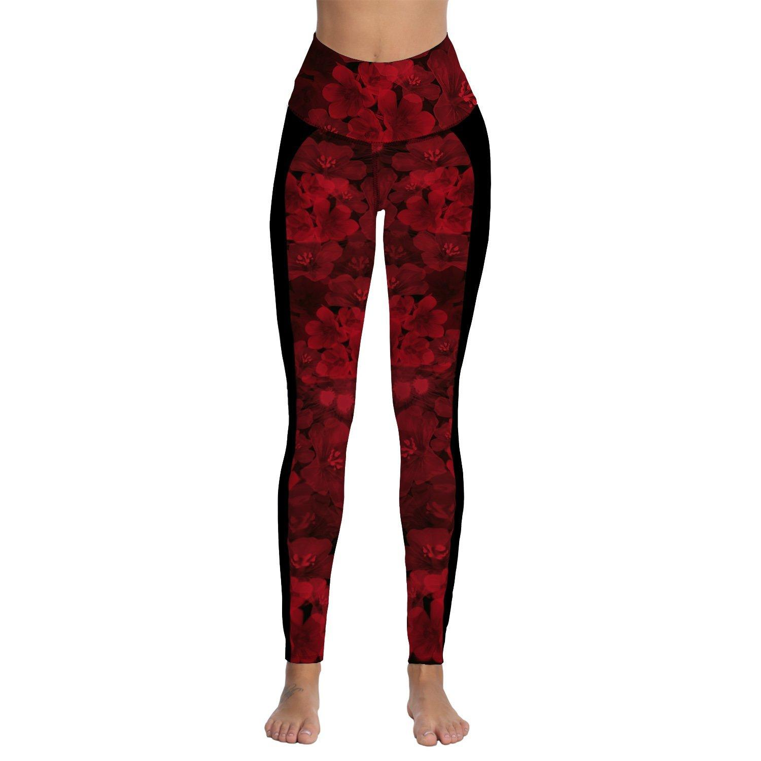 280777a0e1 2019 Womens Red Floral Printed High Waist Workout Leggings Athletic Gym  Fitness Tummy Control Yoga Pants From Johiny, $31.69 | DHgate.Com