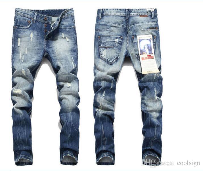 2018 mens Strech ripped biker jeans skinny light blue Distressed kanye west designer brand hip hop streetwear swag pants beckham