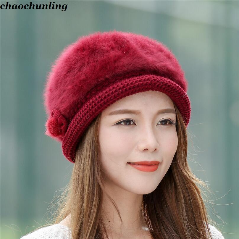 4663ccd8ebe 2019 2018 New Winter Korea Style Ladies Fashion Cashmere Caps Women Floral  Wool Hats Black Red Gray Pink And Beige Six Colors From Fenkbao