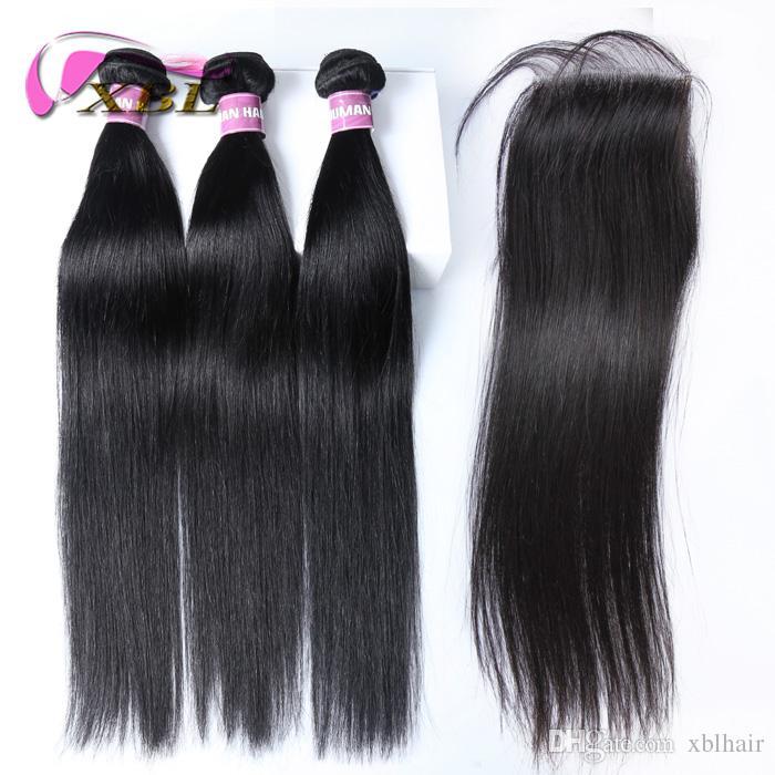 Cierre de encaje con 3 paquetes de cabello virgen brasileño teje recto Cierre de cabello humano indio peruano malasio camboyano