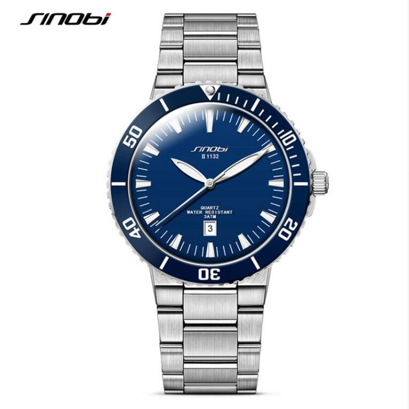 SINOBI Mens Watches Top Brand Luxury Men's Watch Luminous 3Bar Wrist Watch Men Auto Date Clock saat relogio masculino
