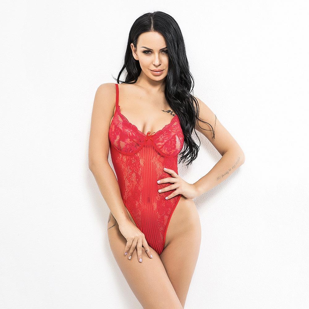 c25165ed2 Compre Sexy Lace Mergulho Sutiã Tanga Bodysuit Hot Lingerie Teddy Mulheres  Cueca Bralette Sutiã Calcinha Calcinha Vermelho Branco Preto De Chikui