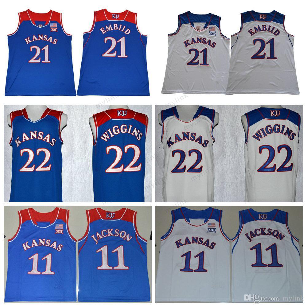 51868aa4b ... best price kansas jayhawks college 21 joel embiid jersey 22 andrew  wiggins 11 josh jackson white