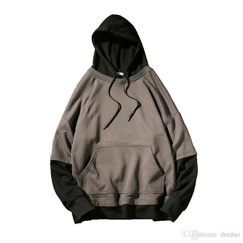 Cheap Sale Spring Hip Hop Street Wear Sweatshirts Skateboard Casual Pullover Hoodies Two False Pieces Jacket Coat Men Hoodie Male Hoodies Men's Clothing